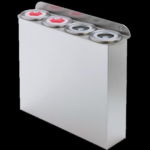 Becher- und Deckelspender Kunststoff Wandmontage Edelstahl Röhrenlänge 600 mm